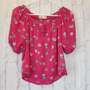 HOLLISTER Bright Pink Floral Blouse